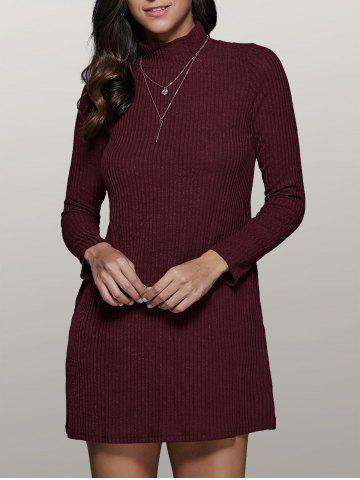 Latest Long Sleeve High Collar Sweater Dress WINE RED XL