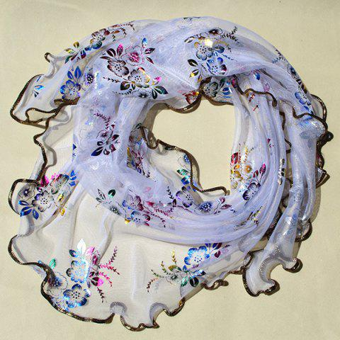 Buy Triangle Colorful Flowers Printed Shawl Scarf - White