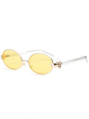 Unique Oval Faux Pearl Nose Pad Metallic Hand Sunglasses - YELLOW  Mobile