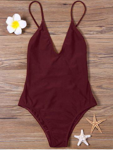 Store High Cut V Neck One Piece Swimsuit DARK RED S