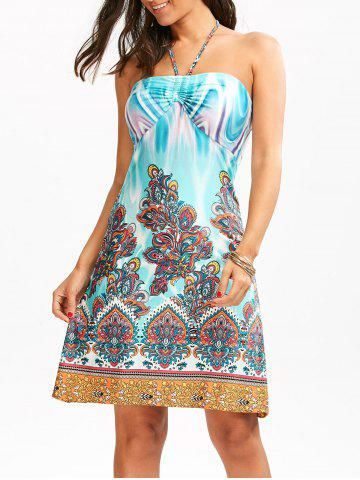 Tribal Totem Print Empire Waist Halter Dress - Colormix - 2xl