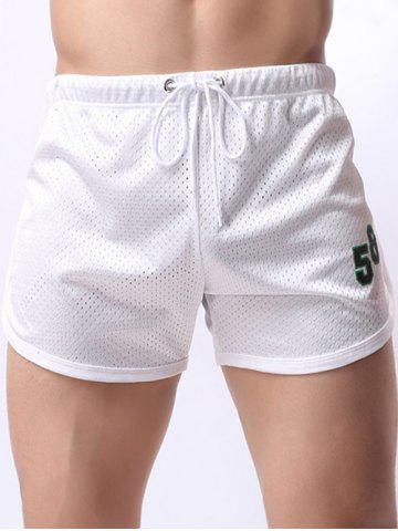 Best Figure Print Mesh Training Shorts - M WHITE Mobile