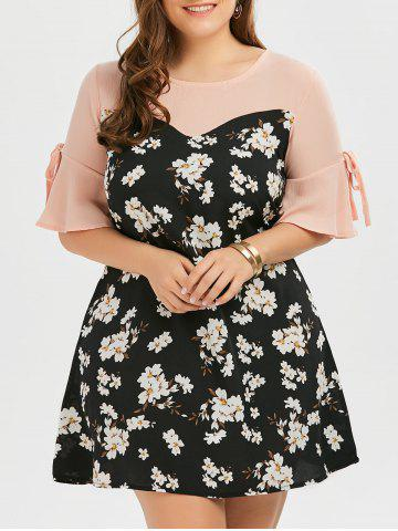 Cheap Plus Size Bow Tie Chiffon Floral Dress with Flare Sleeve FLORAL 3XL
