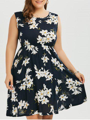 Best Floral Plus Size Mini A Line Dress - 5XL PURPLISH BLUE Mobile