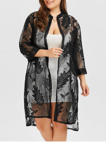 Plus Size Feather Printed Long Cover Up Kimono - Black - 3xl