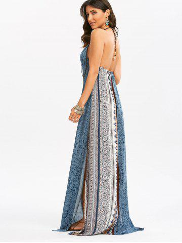 Unique Maxi Backless Bohemian Slit Printed Casual Dress