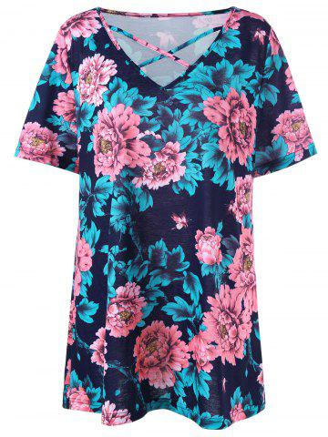 Sale Floral Plus Size Casual Lattice T-shirt COLORMIX XL