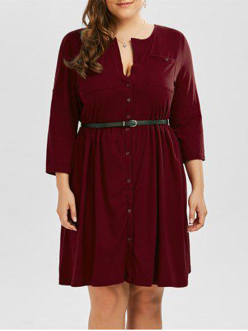 Best Plus Size V Neck Button Up Dress - 3XL WINE RED Mobile