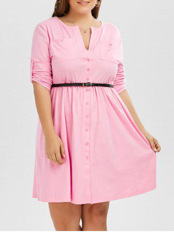 Affordable Plus Size V Neck Button Up Dress - 6XL PINK Mobile