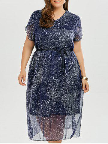 Best Stars Printed Chiffon Plus Size Flowy Dress - 2XL PURPLISH BLUE Mobile