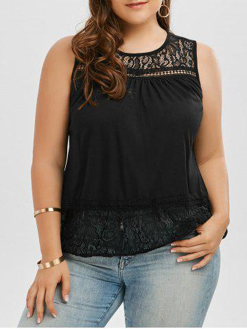 Affordable Back Slit Lace Trim Sleeveless Plus Size Top - 2XL BLACK Mobile
