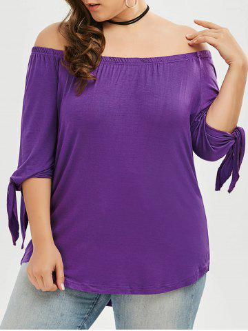 Outfits Plus Size Tied Sleeve Off The Shoulder Top - 4XL PURPLE Mobile