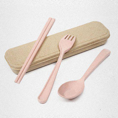 Shops Wheat Straw Healthy 3 PCS Creative Flatware Set - PINK  Mobile