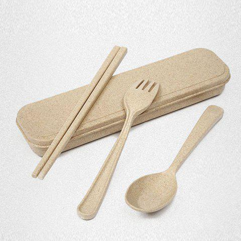Outfit Wheat Straw Healthy 3 PCS Creative Flatware Set - BEIGE  Mobile