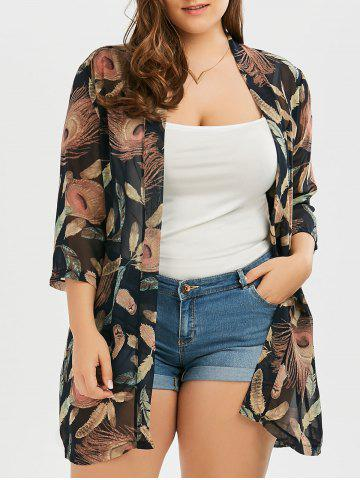 Plus Size Feather Print Chiffon Collarless Kimono - Black - 3xl