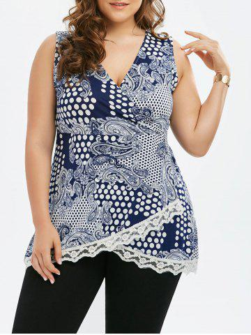 Chic Lace Trim Polka Dot Plus Size Top
