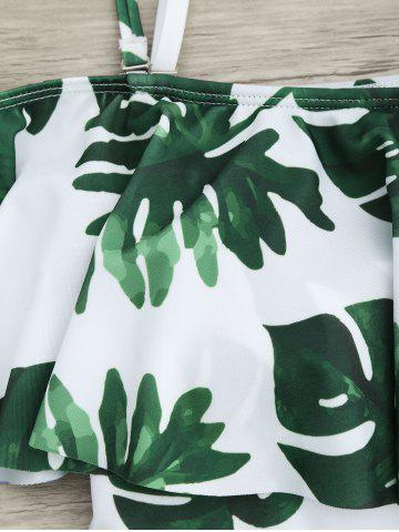 Buy Flounce Tropical Off Shoulder Print Swimsuit - 2XL WHITE AND GREEN Mobile
