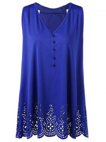 Best Plus Size Bowknot Openwork Scalloped Tank Top BLUE XL