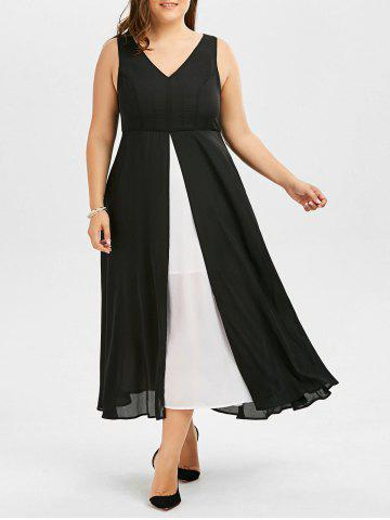Sale Color Block Plus Size V Neck Long Dress - 3XL BLACK Mobile
