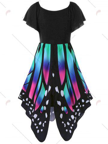 Cheap Butterfly Graphic Dress - 2XL BLACK AND PINK Mobile