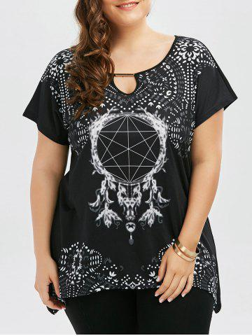 Plus Size Graphic Keyhole Neck T-shirt - Black - 2xl