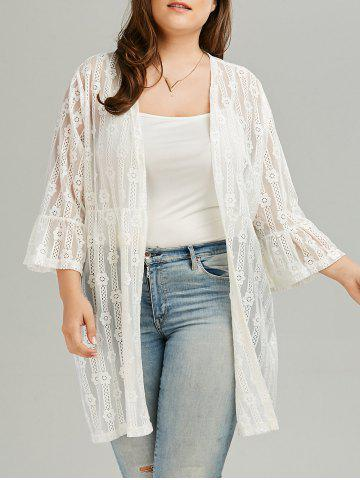 Shops Bell Sleeve Plus Size See Through Lace Cover Up Kimono WHITE 3XL