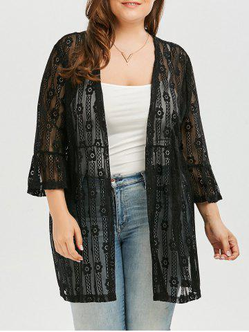 Bell Sleeve Plus Size See Through Lace Cover Up Kimono - Black - 3xl