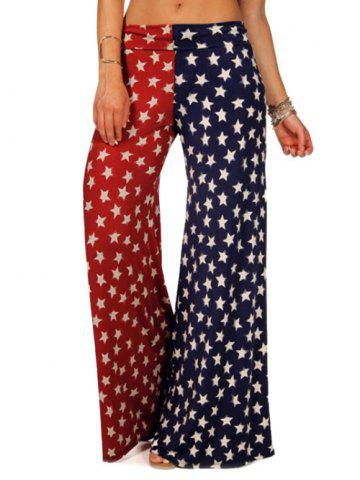 American Flag Printed Wide Leg Pants Drapeau de US XL