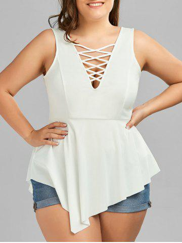 Fancy Crisscross Asymmetrical Plus Size Top WHITE 5XL