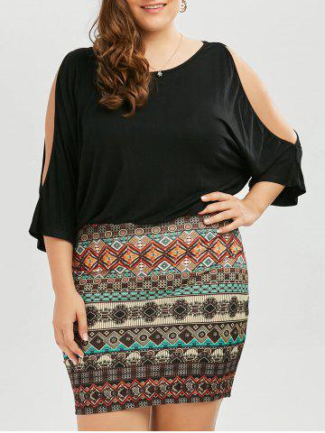 Online Batwing Sleeve Tribe Plus Size Dress BLACK XL
