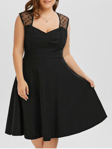 A Line Mesh Trim Plus Size Sweetheart Dress