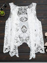 See Thru Crochet Asymmetric Top - WHITE