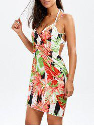 Hawaiian Jungle Print Sarong Wrap Cover Up Dress - COLORMIX