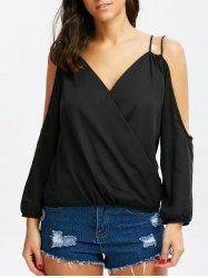 Cold Shoulder Surplice Strappy Blouse -