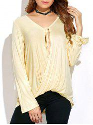 Long Sleeve Tie Neck Twisted T-Shirt -