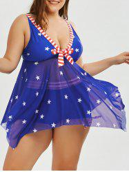Patriotic Plus Size American Flag Skirted Tankini Bathing Suit