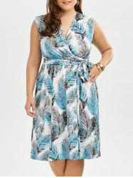 Plus Size Sleevelss Leaf Print Surplice Dress