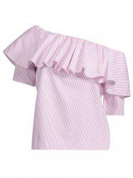 Flounce Pinstripe Smocked Blouse