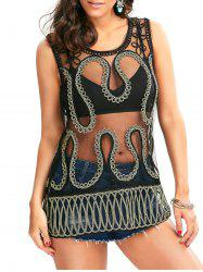 Snake Shape Rope Sheer Lace Tunic Cover Up