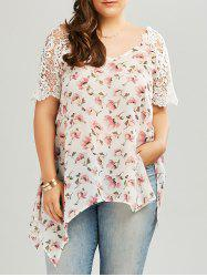Plus Size Backless Lace Insert  Asymmetric Chiffon Floral Top