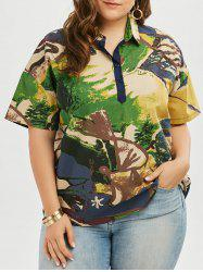 Plus Size Linen Shirt Collar Graffiti Top