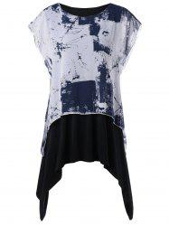 Plus Size Layered Graphic Batwing Sleeve T-shirt - WHITE AND BLACK 2XL