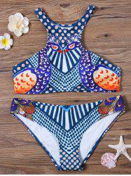 Peacock Print High Neck Bikini Set