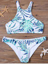 Crisscross Leaf Print High Neck Bikini Set - WHITE