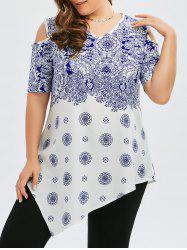 Plus Size Porcelain Printed Peasant Cold Shoulder Top