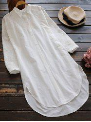Casual High Low Embroidered Shift Shirt Dress -
