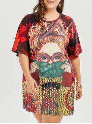 Plus Size Round Neck Funny Printed T-shirt Dress