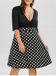 Plus Size Polka Dot A Line Surplice Dress