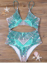 Tribal Cut Out Padded One-piece Bathing Suit - GREEN