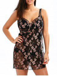 Sheer Floral Lace Wrap Cover-Up Dress